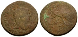 Ancient Coins - F/VG Elagabalus, Judaea Aelia Capitolina (Jerusalem) Æ29 / Wolf and Twins