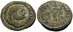 Ancient Coins - EF/EF Galerius as Caesar Silvered Æ Follis / Genius