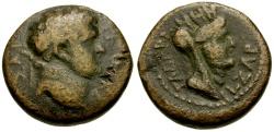 Ancient Coins - Titus as Caesar, Syria, Decapolis Gadara Æ16 / Lindgren Plate Coin