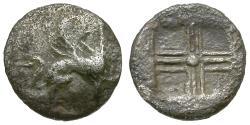 Ancient Coins - Ionia. Teos AR Tetartemorion / Griffin