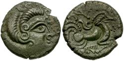 Ancient Coins - Ancient France. Celtic Gaul. Channel Isles. Coriosolites Billon Stater / Horse and Boar