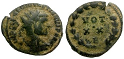 Ancient Coins - Diocletian Æ Radiate Fraction / Wreath