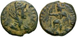 Ancient Coins - Faustina I. Arabia. Bostra Æ17 / Tyche