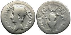 Ancient Coins - Augustus (27 BC-AD 14) AR Denarius / Sword & Helmet