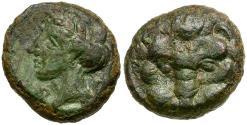 Ancient Coins - Bruttium. Rhegion Æ14 / Lion Scalp
