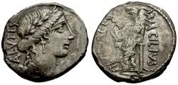 Ancient Coins - 49 BC - Roman Republic. Mn. Acilius Glabrio AR Denarius / Valetudo