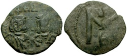 Ancient Coins - Byzantine Empire.  Michael II the Amorian, with Theophilus Æ Follis