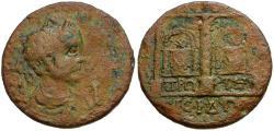 Ancient Coins - Valerian I. Pisidia. Sagalassos Æ 32mm Decassarion / Altars of the Dioscuri