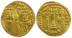 Ancient Coins - *Sear 964* Byzantine Empire. Constans II Pogonatus (AD 641-668), with Constantine IV, Heraclius and Tiberius. AV Solidus
