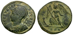 Ancient Coins - Constantine I the Great. Constantinopolis Commemorative Æ3 / Victory on Prow