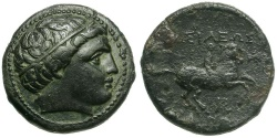 Ancient Coins - Kings of Macedon.  Philip IV Æ18 / Youth on Horseback