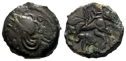 Ancient Coins - VF/VF Very Rare Veliocasses SUTICOS Bronze