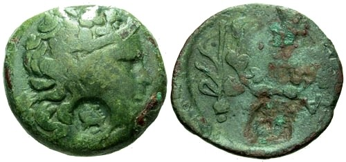 Ancient Coins - F+/F+ Kallatis AE23 / Ivy and Counterstamp