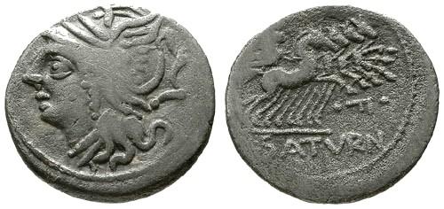 Ancient Coins - 104 BC gF/aF Roman Republic AR Denarius of L. Appuleius Saterninus / Roma / Saturn in quadriga