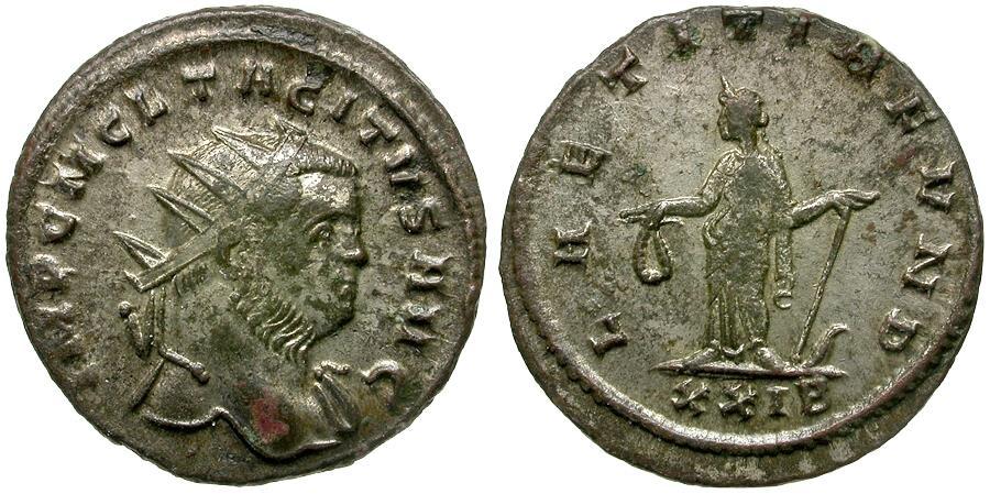 Ancient Coins - Tacitus (AD 275-276) Silvered Æ Antoninianus / Laetitia
