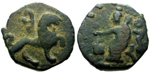 Ancient Coins - VF/VF Indo Scythian Kings Azes II AE Di Chalkon Lion