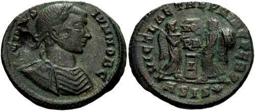 Ancient Coins - gVF Licinius II AE3, rev. two victories placing shield on altar VOT/PR/I