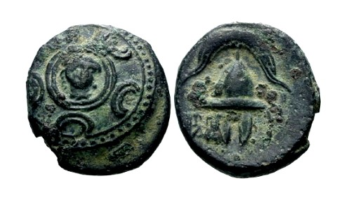 Ancient Coins - VF/VF Alexander III The Great AE17 / Herakles on Shield