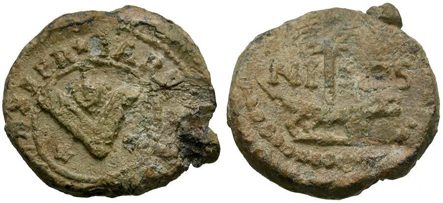 Ancient Coins - France. Nimes Pb Merchant or Bag Seal