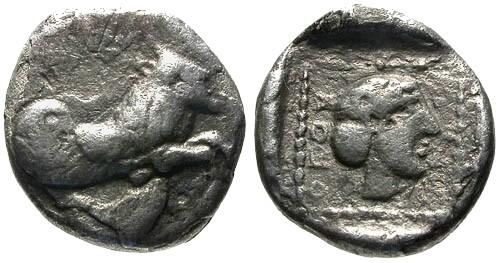 Ancient Coins - gF+/gF+ Lycia Uvug AR Diobol / Winged Man-Headed Bull