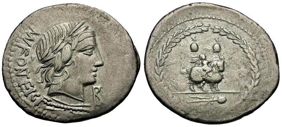 Ancient Coins - 85 BC - Roman Republic. Mn. Fonteius AR Denarius / Cupid riding Goat