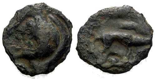 Ancient Coins - Rare Aulerci Eburovices Potin Half Unit / Boar