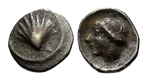 Ancient Coins - VF/VF Calabria Taras AR Litra / Scallop shell / Satyra