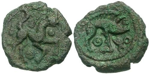 Ancient Coins - F/VF Ambiani Tribe Bronze / Horse and Boar RR