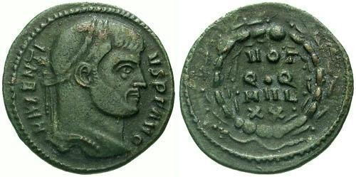 Ancient Coins - VF/VF Maxentius Quarter Follis / Rare Type