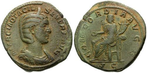 Ancient Coins - chVF Otacilia Severa wife of Philip I AE Sestertius / Concordia