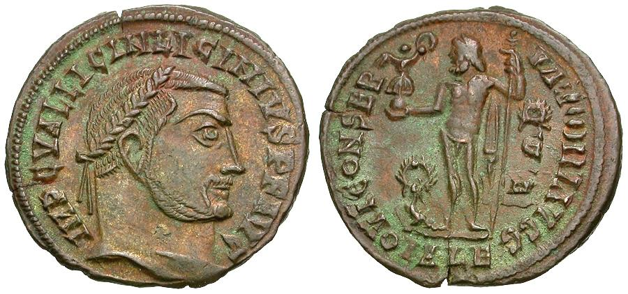 Ancient Coins - Licinius I (AD 308-324) Æ3 / Jupiter