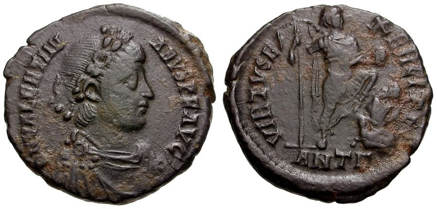 Ancient Coins - Valentinian II.  Æ2 / Valentinian with Captive