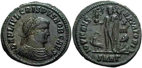 Ancient Coins - VF+ Crispus AE follis, Jupiter rev.