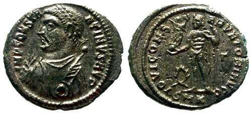 Ancient Coins - EF Constantine I AE3 Silvered with Moustache / Jupiter