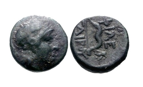 Ancient Coins - aVF/VF Pergamene Kingdom AE12 / Athena / Bow