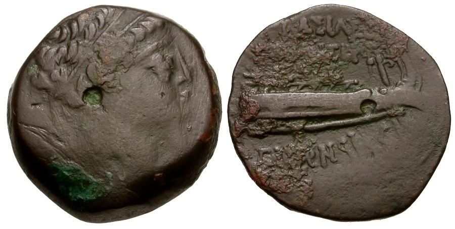 Ancient Coins - Seleukid Kings of Syria. Demetrios II Nikator Æ20 / Galley