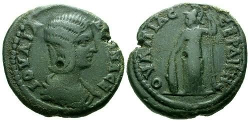 Ancient Coins - aVF/aVF Julia Domna Thrace Serdis AE25 / Athena