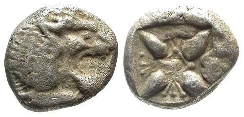 Ancient Coins - VF/VF Ionia Miletos AR 1/12 Stater / Lion