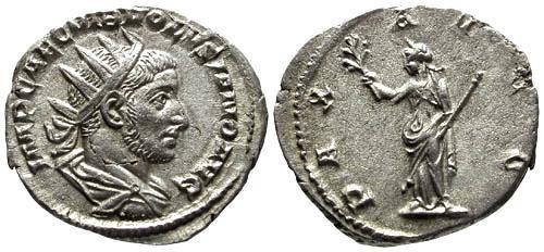 Ancient Coins - EF/EF Volusian Antoninianus / Pax