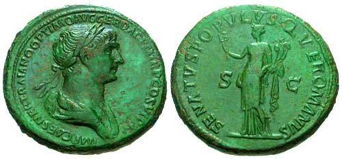Ancient Coins - VF/aVF Trajan Sestertius / Felicitas / Patina