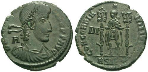 Ancient Coins - VFVF Constantius II Centenionalis / Emperor Holding Standards