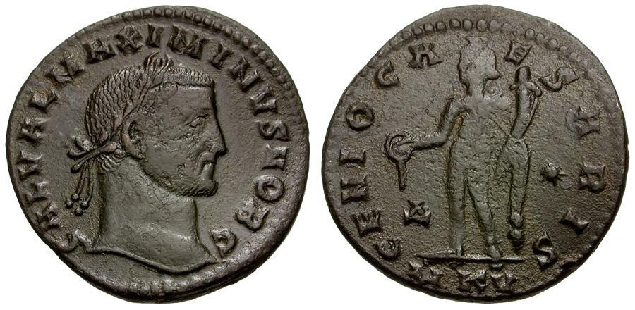 Ancient Coins - Maximinus II as Caesar Æ Follis / Genius