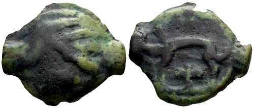 Ancient Coins - F/VF Leuci Tribe Potin / Wild Man & Boar