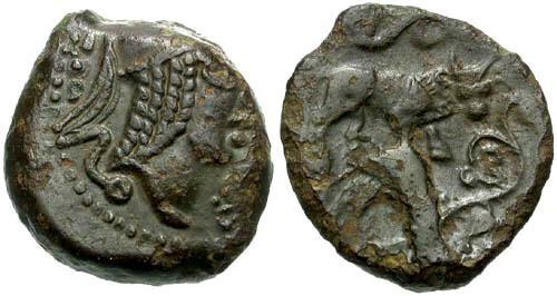 Ancient Coins - EF/VF Veliocasses AE16 / SVTICOS Bull