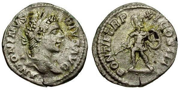 Ancient Coins - gF/gF Caracalla AR Denarius / Mars