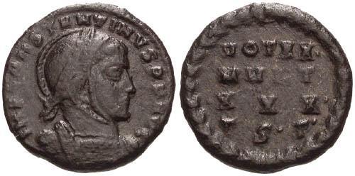 Ancient Coins - VF/VF Constantine the Great / VOT XX MVLT XXX in Wreath