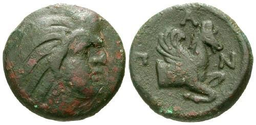 Ancient Coins - gF/VF Pantikapaion AE15 / Pegasus