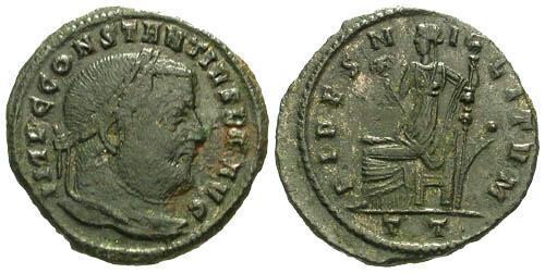 Ancient Coins - aVF/VF Constantius I Chlorus AE Follis / Fides Seated