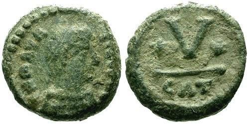 Ancient Coins - VF/VF Maurice Tiberius AE Pentanummium / Catania Mint