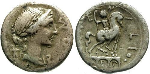 Ancient Coins - 114-113 BC / F/gF Aemilia Roman Republic Denarius / Equestrian statue on arch